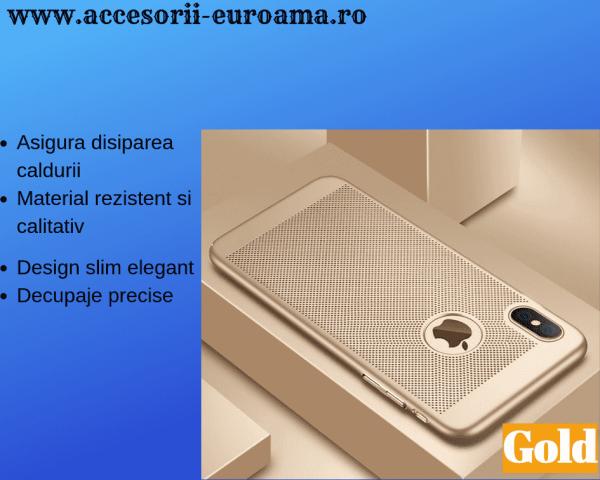 Husa Apple iPhone X / XS Carcasa Spate Perforata Auriu Gold 1