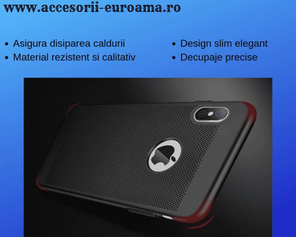 Husa Apple iPhone X / XS Carcasa Spate Perforata Negru 3