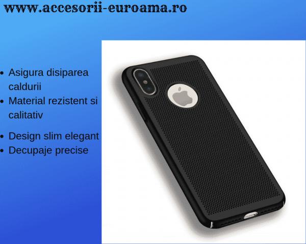 Husa Apple iPhone X / XS Carcasa Spate Perforata Negru 0