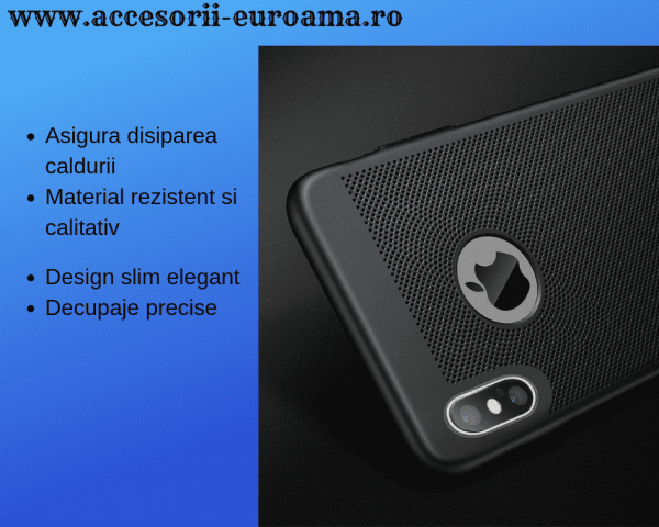 Husa Apple iPhone X / XS Carcasa Spate Perforata Negru 4