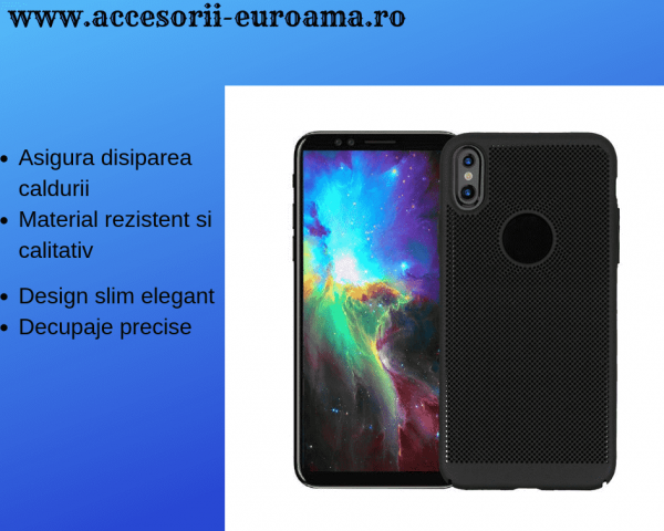 Husa Apple iPhone X / XS Carcasa Spate Perforata Negru 1