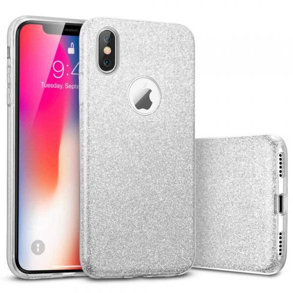 Husa Apple iPhone XR Sclipici Carcasa Spate Argintiu Silicon TPU [0]