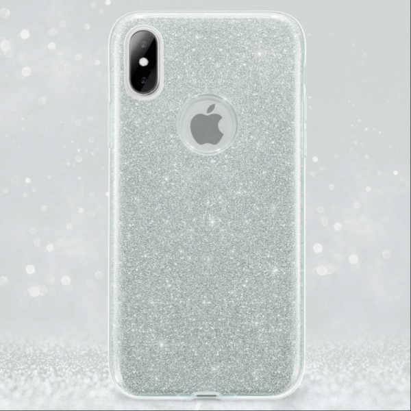 Husa Apple iPhone XR Sclipici Carcasa Spate Argintiu Silicon TPU 1
