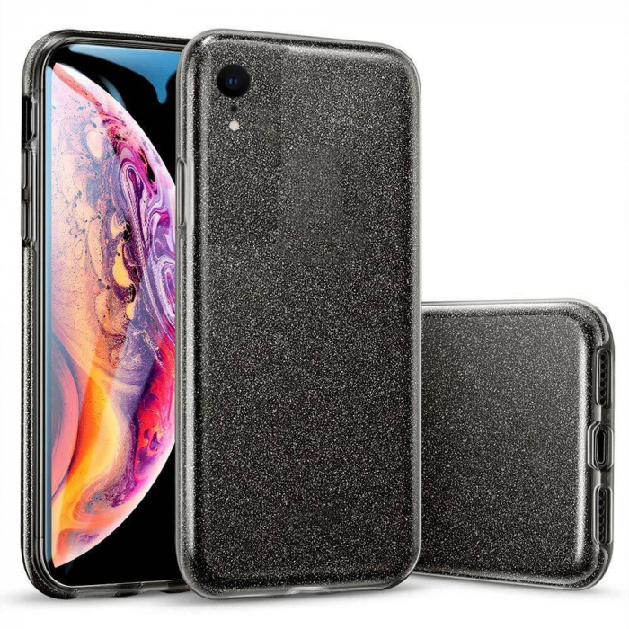 Husa Apple iPhone XR Sclipici Carcasa Spate Negru Silicon TPU [0]