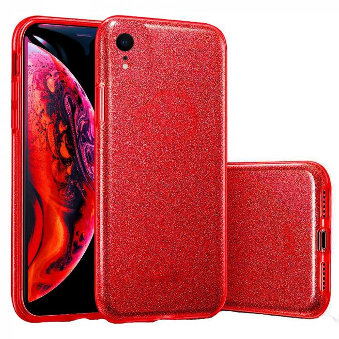 Husa Apple iPhone XR Sclipici Carcasa Spate Rosu Silicon TPU [0]