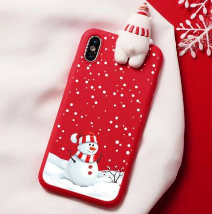 Husa Apple iPhone XS Max Model de Craciun Rosie Om de Zapada + Figurina 3D 0