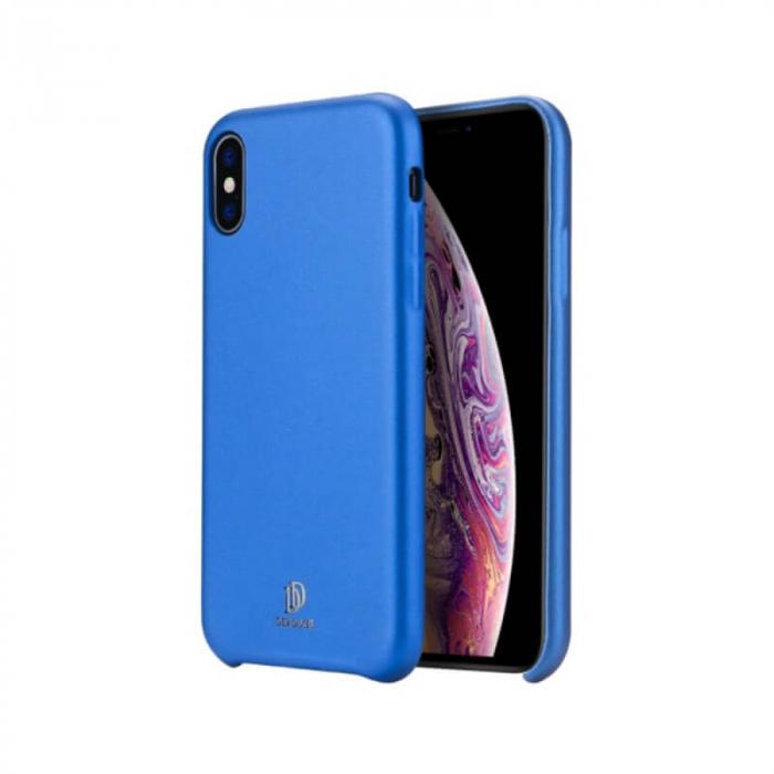 Husa iPhone XS Silicon si Piele Eco Albastru SkinLite DuxDucis [0]
