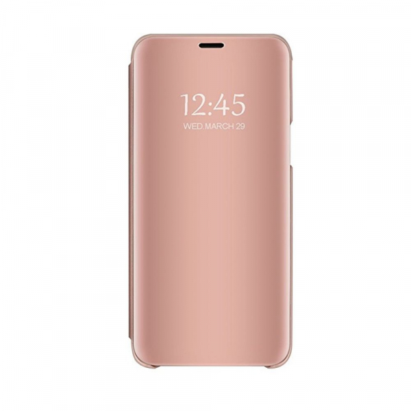 Husa Huawei P20 Clear View Flip Standing Cover (Oglinda) Roz (Rose Gold) 0