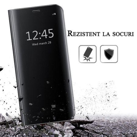 Husa iPhone 7 / 8 Clear View Flip Standing Cover (Oglinda) Negru (Black)