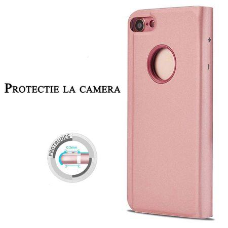 Husa iPhone 7 Plus / 8 Plus Clear View Flip Standing Cover (Oglinda) Roz (Rose Gold) 1