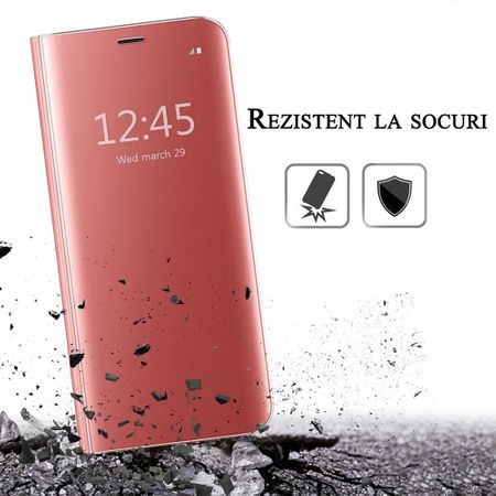 Husa iPhone 7 Plus / 8 Plus Clear View Flip Standing Cover (Oglinda) Roz (Rose Gold) 2