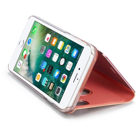 Husa iPhone 6 / 6S Clear View Flip Standing Cover (Oglinda) Roz Rose Gold 3