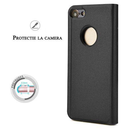 Husa iPhone 7 Plus / 8 Plus Clear View Flip Standing Cover (Oglinda) Negru (Black) 1