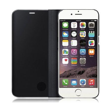 Husa iPhone 7 Plus / 8 Plus Clear View Flip Standing Cover (Oglinda) Negru (Black) 4