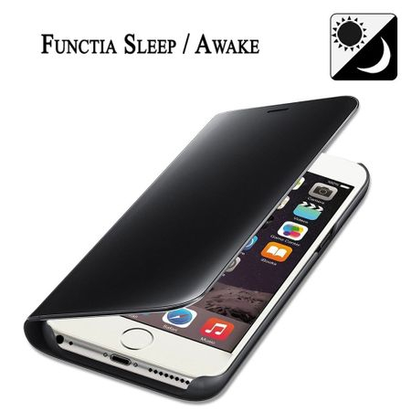 Husa iPhone 6 Clear View Flip Standing Cover (Oglinda) Negru (Black) 2