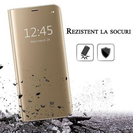 Husa iPhone 7 / 8 Clear View Flip Standing Cover (Oglinda) Auriu (Gold) 4