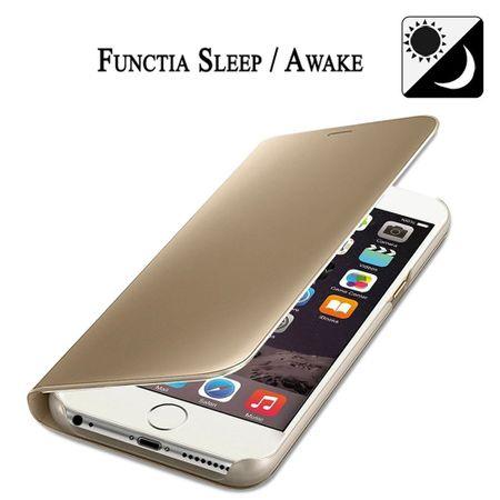 Husa iPhone 7 / 8 Clear View Flip Standing Cover (Oglinda) Auriu (Gold) 3