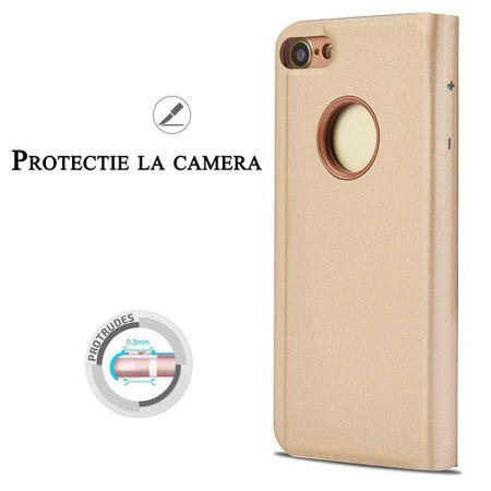 Husa iPhone 7 / 8 Clear View Flip Standing Cover (Oglinda) Auriu (Gold) 1
