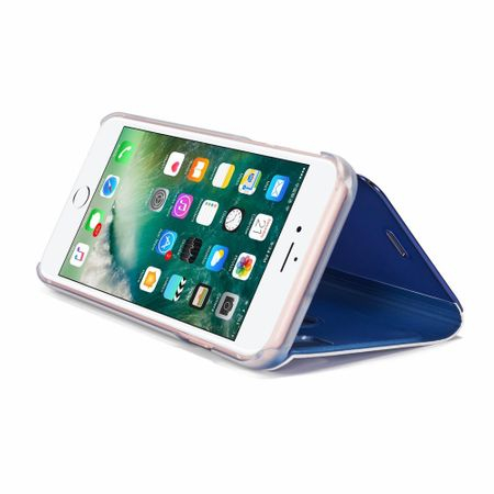 Husa iPhone 7 Plus / 8 Plus Clear View Flip Standing Cover (Oglinda) Albastru (Blue) 2