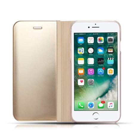 Husa iPhone X / XS  Clear View Flip Standing Cover (Oglinda) Auriu (Gold) 2