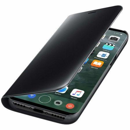 Husa iPhone X / XS  Clear View Flip Standing Cover (Oglinda) Negru (Black) 2