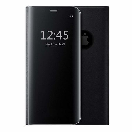 Husa iPhone X / XS  Clear View Flip Standing Cover (Oglinda) Negru (Black) 1