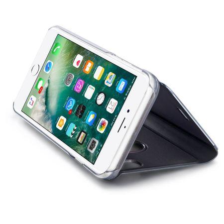 Husa iPhone X / XS  Clear View Flip Standing Cover (Oglinda) Negru (Black) 3