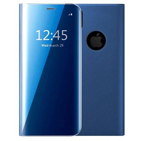 Husa iPhone X / XS  Clear View Flip Standing Cover (Oglinda) Albastru (Blue) 0