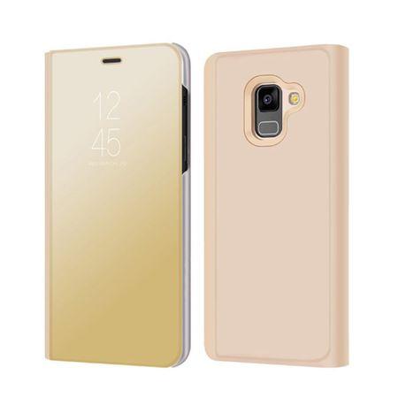 Husa Samsung Galaxy A5 / A8 2018 Clear View Flip Standing Cover (Oglinda) Auriu (Gold) 0