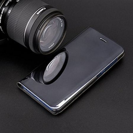 Husa Samsung Galaxy A8 Plus Clear View Flip Standing Cover (Oglinda) Negru (Black)