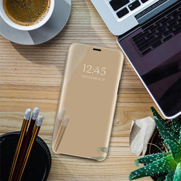 Husa Samsung Galaxy A7 2018 Clear View Flip Standing Cover (Oglinda) Auriu (Gold) 4