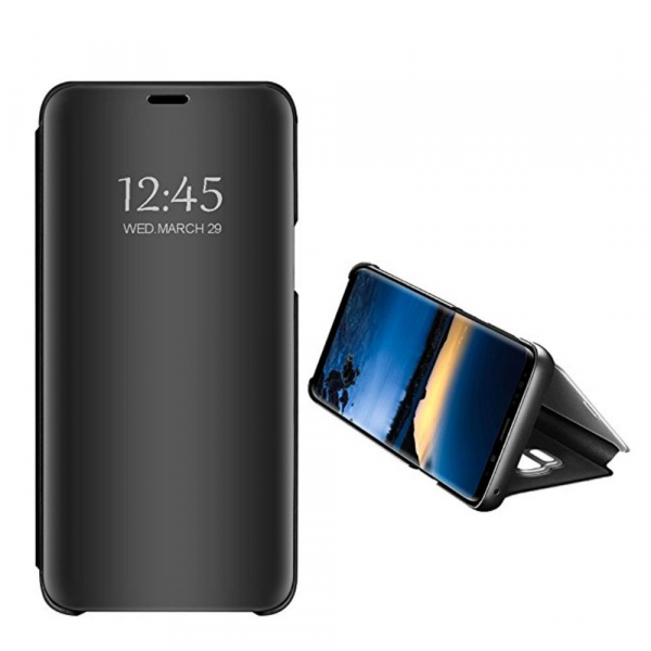 Husa Samsung Galaxy J4+ (J4 Plus) 2018 Clear View Flip Standing Cover (Oglinda) Negru (Black)