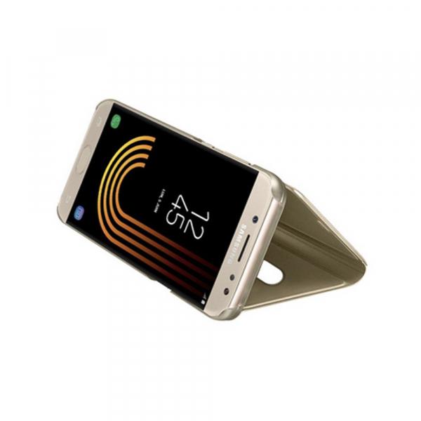 Husa Samsung Galaxy J5 2017 Clear View Flip Standing Cover (Oglinda) Auriu (Gold) 3