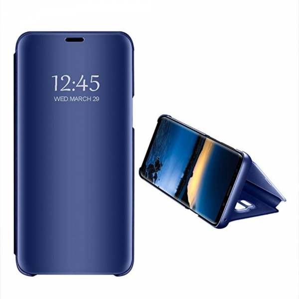 Husa Samsung Galaxy J6 Plus (+) 2018 Clear View Flip Standing Cover (Oglinda) Albastru (Blue)