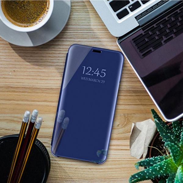 Husa Samsung Galaxy J6 Plus (+) 2018 Clear View Flip Standing Cover (Oglinda) Albastru (Blue) 1