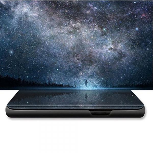 Husa Huawei Y5 2018 Clear View Flip Standing Cover (Oglinda) Negru (Black) 3