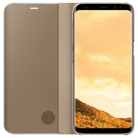Husa Samsung Galaxy J7 2018 Clear View Flip Standing Cover (Oglinda) Auriu (Gold)