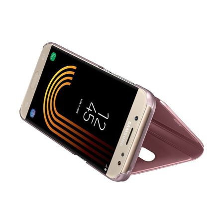 Husa Samsung Galaxy J7 2018 Clear View Flip Standing Cover (Oglinda) Roz (Rose Gold) 2