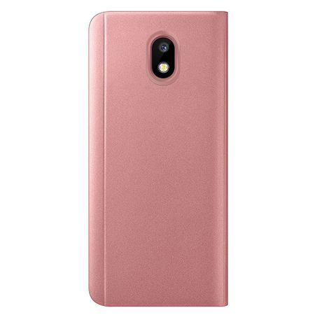 Husa Samsung Galaxy J7 2018 Clear View Flip Standing Cover (Oglinda) Roz (Rose Gold) 1