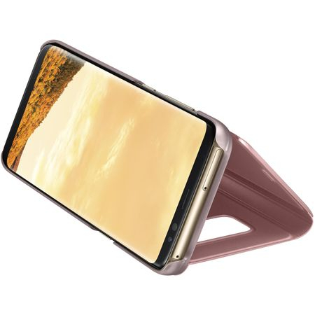 Husa Samsung Galaxy S8 Clear View Flip Standing Cover (Oglinda) Roz (Rose Gold) 2