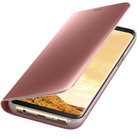 Husa Samsung Galaxy S8 Clear View Flip Standing Cover (Oglinda) Roz (Rose Gold) 3
