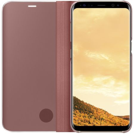 Husa Samsung Galaxy S8 Clear View Flip Standing Cover (Oglinda) Roz (Rose Gold) 1