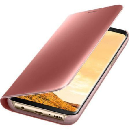 Husa Samsung Galaxy S9 Clear View Flip Standing Cover (Oglinda) Roz (Rose Gold) 3