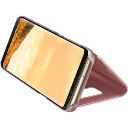 Husa Samsung Galaxy S9 Clear View Flip Standing Cover (Oglinda) Roz (Rose Gold) 2