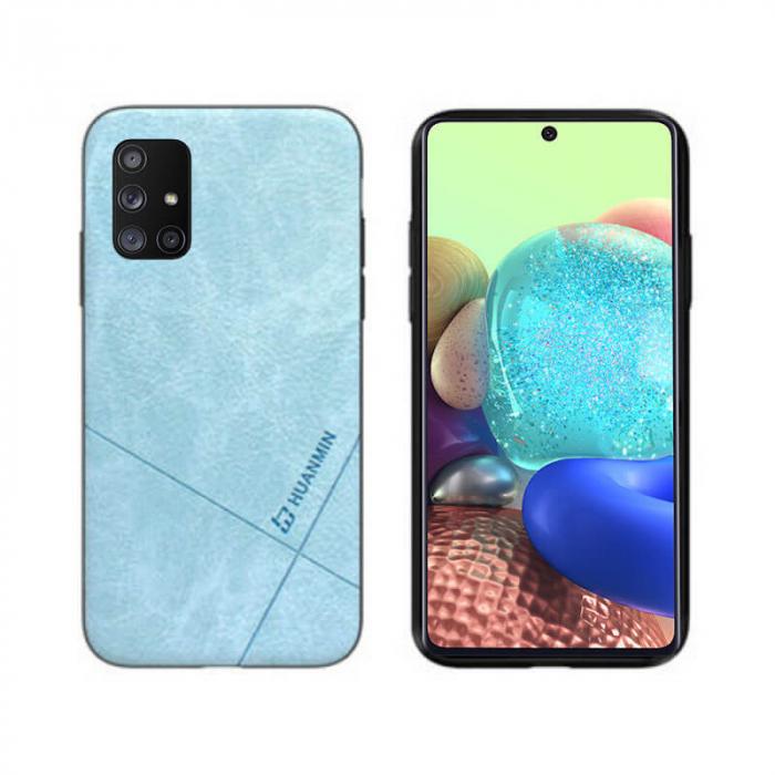 Husa Galaxy A71 Silicon si Piele Ecologica Albastru Spate Atlas Cha [0]