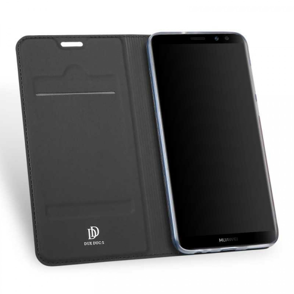 Husa Huawei Mate 10 Lite 2017 Toc Flip Tip Carte Portofel Negru Piele Eco Premium DuxDucis 1