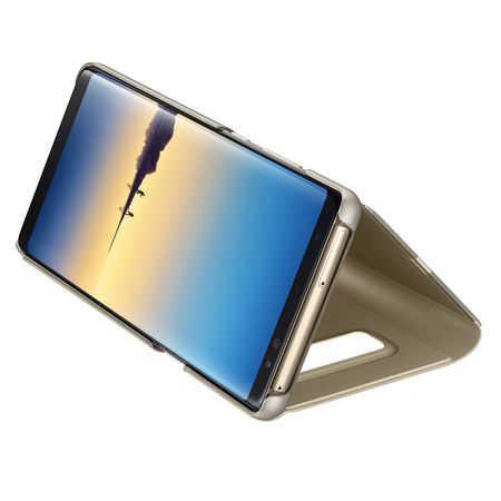 Husa Huawei Mate 10 Lite Clear View Flip Toc Carte Standing Cover Oglinda Auriu Gold 4