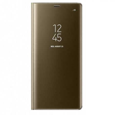 Husa Huawei Mate 10 Lite Clear View Flip Toc Carte Standing Cover Oglinda Auriu Gold 0