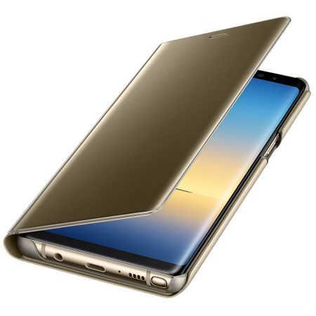Husa Huawei Mate 10 Lite Clear View Flip Toc Carte Standing Cover Oglinda Auriu Gold 2