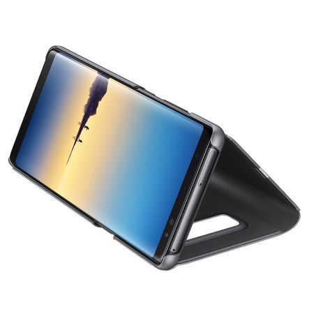 Husa Huawei Mate 10 Lite Clear View Flip Toc Carte Standing Cover Oglinda Negru 4